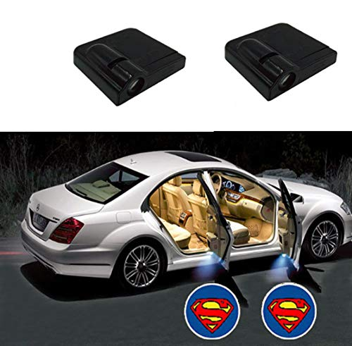 Toogod 2-Pack Wireless Battery Operated LED Car Door Light Projector Courtesy Welcome Logo Ghost Shadow Light Magnet Sensor (Superman)