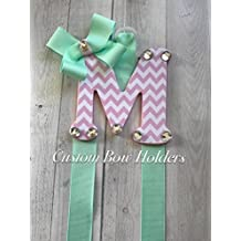"Hair Bow Holder - Pink Chevron Patterned 4"" Letter - Choose Any 1 Letter/Ribbon Color"