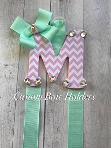 Hair Bow Holder - Pink Chevron Patterned 4