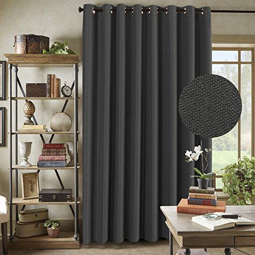 H.Versailtex Extra Long and Wide Room Darkening Rich Quality of Textured Linen Patio Door Curtains Home Fashion Window Panel Drapes With 16 Grommets - Charcoal Gray - 100x96 inch Long - Wide Charcoal