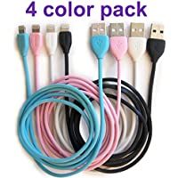 Apple iPhone charger, REMAX Lesu 4Pack(Blue/Pink/White/Black) USB Sync Charging Cable , Lightning Cord for Iphone 7/7plus/6/6s/6plus/5/5S/5C/SE, iPad 4, iPad Air 1/2, iPad Mini, iPod(3,3 Feet/1Meter)