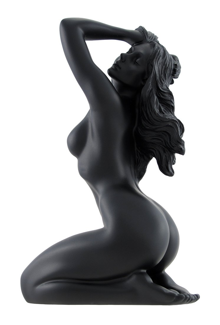 Glossy Black Female Nude Kneeling Hands In Hair Statue Facing Left
