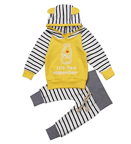 Emmababy Unisex Baby Clothes Outfit Birthday Outwear Hood Tops Casual Stripes Pants Leggings Set (0-6Months, (Hood Top Pants)