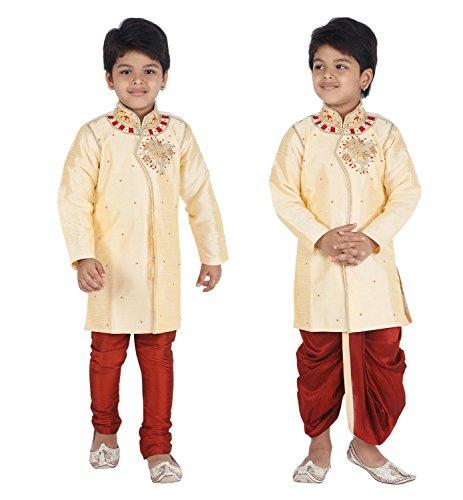Ahhaaaa Kids Ethnic Indo Western Kurta Pyjamas Dhoti Pant Set for Boys (5-6 Years, Gold)