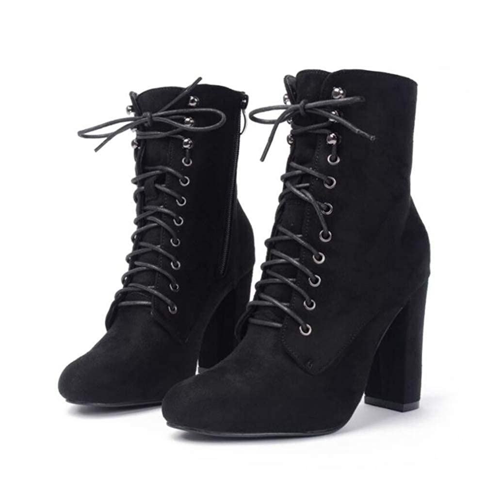 Shiney Womens Martin Boots New Suede High Heel Chunky Heel Straps Ankle Boots 2018 Autumn Winter