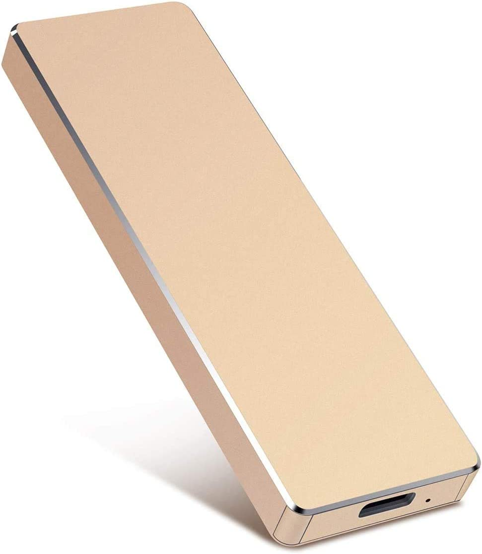 External Hard Drive, Slim External Hard Drive Portable Storage Drive Compatible with PC, Laptop and Mac (2tb, Gold)