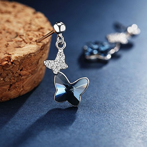 Sterling Silver Blue Butterfly Earrings, T400 Drop Stud Earrings Made with Swarovski Element Crystals Gift by T400 (Image #4)