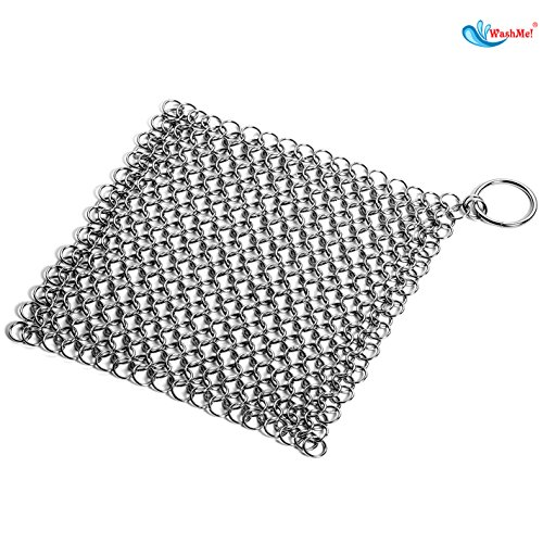 "Premium Quality, Dishwasher Safe, 7""x7"" WashMe! Stainless Steel Chainmail Scrubber - Cast Iron Cleaner : Easily & Effectively Restores Cookware without Soap or Harsh Chemicals"