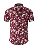 Best Man Buttons - uxcell Men Floral Print Button Front Short Sleeve Review