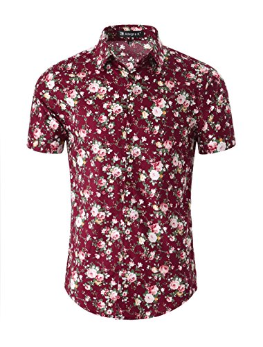 - uxcell Men Floral Button Front Short Sleeve Cotton Beach Hawaiian Shirt Medium Burgundy