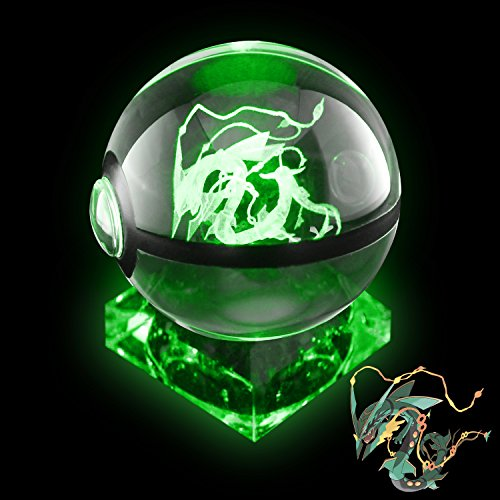 Crystal Poke Ball Night Light with Crystal Base and Soft Cleaning Cloth for Pokemon Fans (Mega Rayquaza) by Coolinko