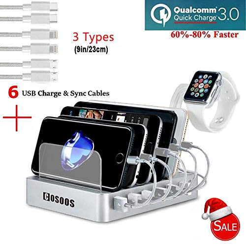 COSOOS Fastest Charging Station with QC 3.0 Quick Charge,6 USB Cables(3 Types),l Watch Holder,6-Port Charger Station Organizer,Charging Docking Stand for Multiple Devices,Phones,Tablets(Silver White) from COSOOS