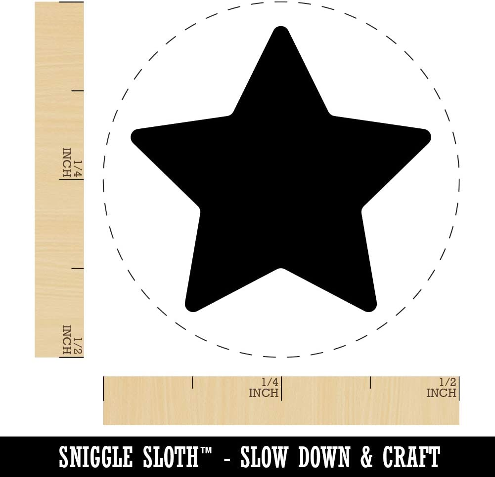 3//4 Inch Small Star Shape Excellent Outline Rubber Stamp for Stamping Crafting Planners