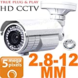 USG Ultra HD Sony IMX326 Chipset BNC Coaxial 5MP 2592×1944 Bullet Security Camera : 2.8-12mm Vari-focal Lens : Weather & Vandal-proof : 72x IR LEDs 200ft Night Vision, Business Grade, AHD CCTV Format