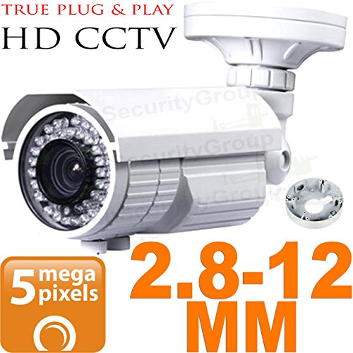 USG Ultra HD Sony IMX326 Chipset BNC Coaxial 5MP 2592×1944 Bullet Security Camera : 2.8-12mm Vari-focal Lens : Weather & Vandal-proof : 72x IR LEDs 200ft Night Vision, Business Grade, AHD CCTV Format by Urban Security Group