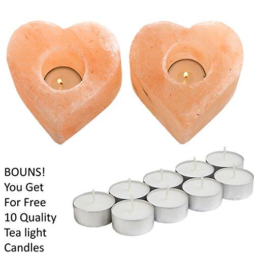 Heart Tealight Candles (ShartPro Set Of 2 Heart Natural Himalayan Salt Candle Holder - Handcrafted From Himalayan Rock Salt crystals - Beautiful Salt Tea Light Holder + Pack From 10 Quality Tealight Candles)