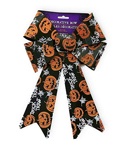 Cheap Diy Halloween Wreaths (Trick or Treat Jack-o'-Lantern Pumpkin Design Halloween Glitter 12 in Decorative Bow Party Decoration Spooky Creepy Haunted House Graveyard Scene - Wreath Centerpiece DIY)