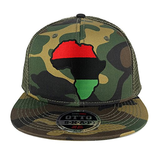Red Black Green Africa Map Embroidered Patch Camo Flat Bill Snapback Mesh Cap - OLIVE by Armycrew