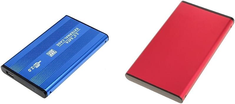 H HILABEE USB2.0 SATA外部SSD HDDハードドライブエンクロージャーラップトップディスクケースブルー+レッド