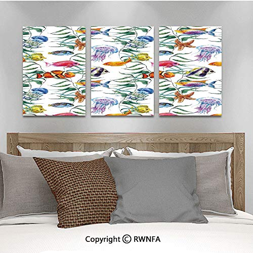 3Pc Creative Wall Stickers Tropical Coral Reef with Seaweed Algae Jellyfish Aquatic Saltwater Nemo Theme Bedroom Kids Room Nursery Dinning Wall Decals Removable Art Murals,19.7
