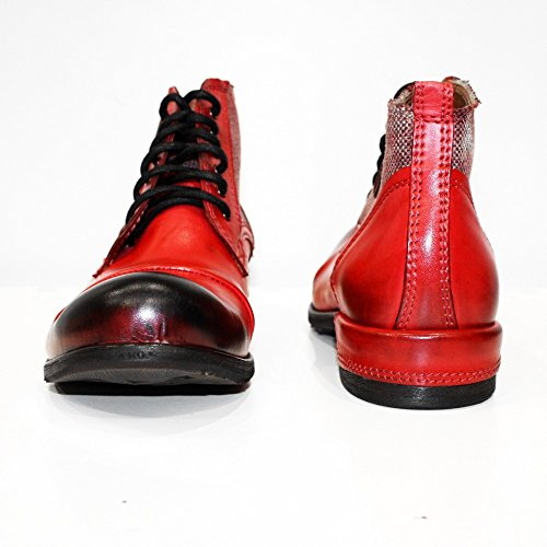 PeppeShoes Modello Quecello - Handmade Italian Leather Mens Red Ankle Boots - Cowhide Hand Painted Leather - Lace-up fXS32H0fRB