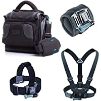 USA Gear Action Video Camera Bag Set with Wrist Mount, Chest and Head Strap included - Works With GoPro HERO5 Black , HERO5 Session , HERO Session , HTC RE Camera , Xiaomi Yi and More