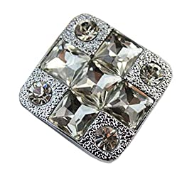 Set of 3 Beautiful Silver Square Crystal Drawer Handles/Pulls/Knobs(1.250.9\'\')