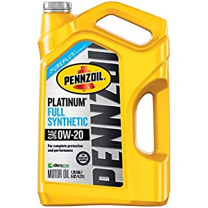 Pennzoil 550046127 Platinum 5 quart 0W-20 Full Synthetic Motor Oil (SAE, SN/GF-5 Jug)