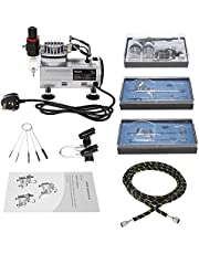JJone Weytoll Professional Airbrush Air Compressor Kit Dual-Action Hobby Nail Art Paint Spraying Air Brush Set with Cleaning Brush