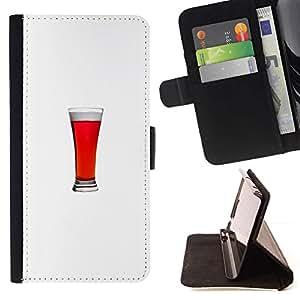 Momo Phone Case / Flip Funda de Cuero Case Cover - Ale minimalista vaso de bebida Stout - HTC One M7