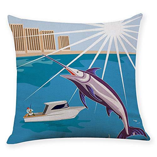 Dinette Set Pastel - Fujingkejiyouxia Go Fishing Pastel Color Paint Throw Pillow Cushion Cover Square Cotton Linen Dramatic Artwork (45 X 45cm,E)