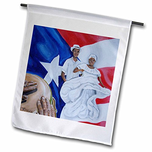 3dRose Melissa A. Torres Art Puerto Rico - A Couple of Bomba Dancers, a Conga, and Puerto Rican Flag as Background - 12 x 18 inch Garden Flag (fl_160389_1)