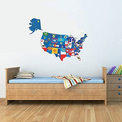 United States map with state flags USA US Vinyl Wall Art Decal Sticker