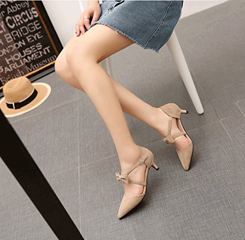 Summer Sandals Shallow Shoes Comfortable High Brown Color Elegant Heels Pointed 37 Shoes Women Toe Brown Bowknot Sexy Size Fashion qzx4z87