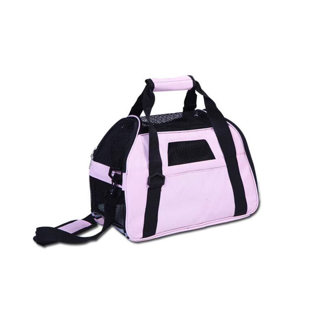 Pink Pet bag Pet Out Folding Backpack Pet Travel Bag Portable Dog Bag Lostgaming (color   Pink)