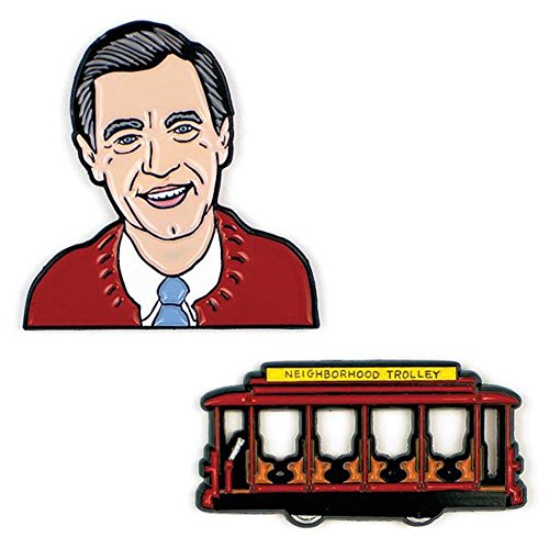The Unemployed Philosophers Guild Mister Rogers and Trolley Enamel Pin Set - 2 Unique Colored Metal Lapel Pins