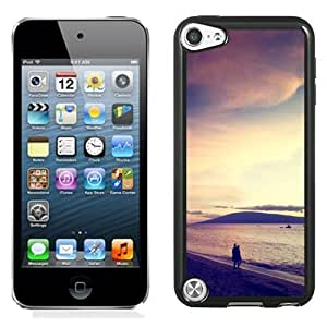 NEW Unique Custom Designed iPod Touch 5 Phone Case With Walk At The Beach Sunset_Black Phone Case
