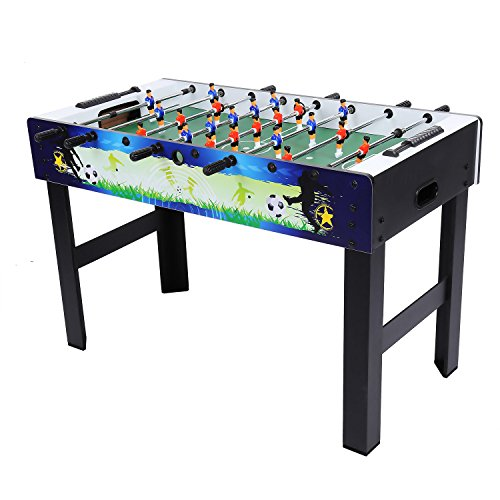Blue and back foosball table with a quick scoring feature.