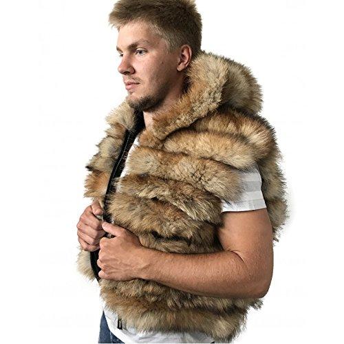 Bomber Men coat vest jacket Hood natural fur fox ()