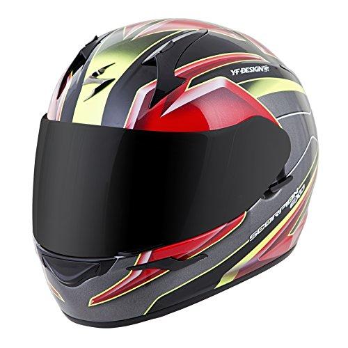 Scorpion EXO-R410 Unisex-Adult Full Face Motorcycle Helmet (Red/Yellow, Large) (Kona)
