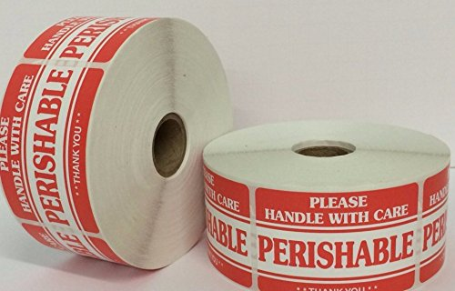 1 Roll 2x3 PERISHABLE Handle with Care Shipping Mailing Stickers with 1000 labels per roll