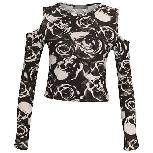 Fashion & Freedom - Camiseta de manga larga - para mujer Rose Skull