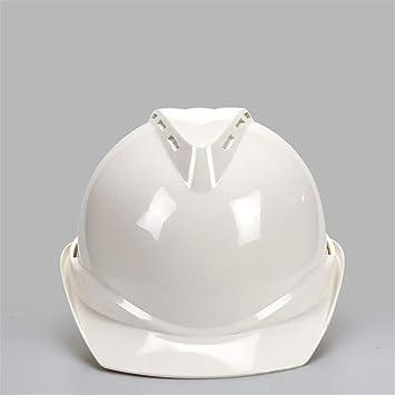 Easy Go Shopping Casco de Seguridad con Casco de Seguridad de construcción de Casco Resistente ventilado con trinquete Antideslizante (Color : Blanco): ...
