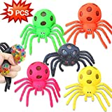 5 Pack Halloween Spiders Mesh Stress Ball Party Games Favors for Kids Adults Girls Boys Mesh Grape Stress Ball Relief Fidget Squeeze Toys Autism ADHD Sensory Rubber Halloween Party Table Decor
