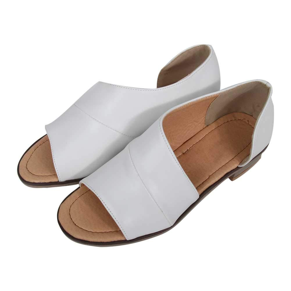 Pursoudy Flat Sandals for Women Open Toe Slip on Fashion Summer Casual Dress Shoes