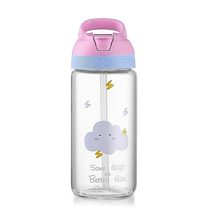 Botella de agua ONEISALL de cristal de dibujos animados con asa portátil de paja, botella de cristal de borosilicato resistente, botella deportiva, ...