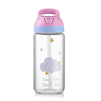 Botella de agua ONEISALL de cristal de dibujos animados con asa portátil de paja, botella