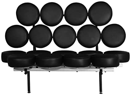 Emorden Furniture George Nelson Marshmallow Sofa In Black Italian Leather,  Comfortable, Solid, Durable