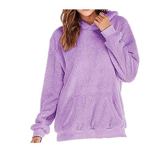 Womens Hoodies Sweatshirts Womens Pullover Hoodie Sunmoot Long Sleeve Oversized Jumper with Pockets Purple