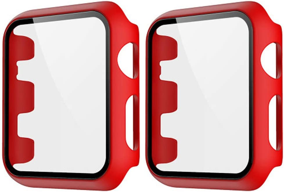 HANKN 2 Pack Matte Case Compatible with Apple Watch Series 3 2 1 Tempered Glass Screen Protector 38mm, Full Coverage Hard Pc Shockproof Iwatch Cover Bumper (Red+Red, 38mm)